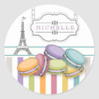 Colourful Paris Macaron Eiffel Tower Monogram Classic Round Sticker