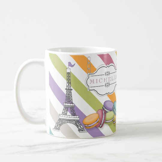 Colourful Paris Macarons Eiffel Tower Monogram Coffee Mug