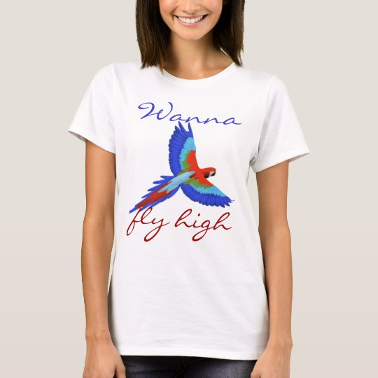 Colourful parrot bird flying cute girly T-Shirt