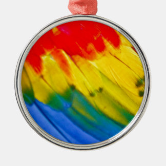 Colourful parrot wing Silver-Colored round decoration