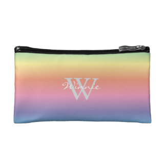 Colourful Pastel Rainbow Colours Monogram Cosmetic Bag