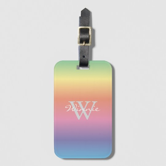 Colourful Pastel Rainbow Colours Monogram Luggage Tag