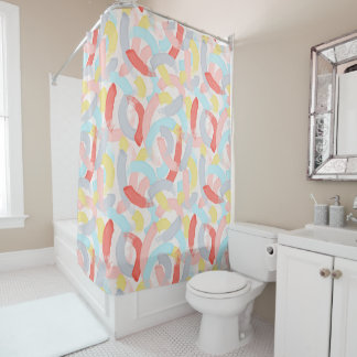 Colourful Pastels Brushstrokes Shower Curtain