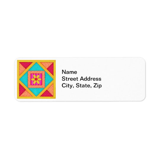 Colourful Patchwork Quilt Art Block Return Address Label