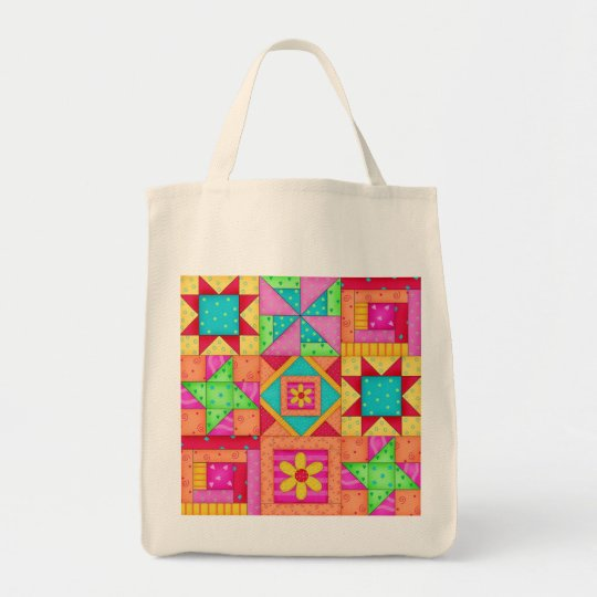 Colourful Patchwork Quilt Art Grocery Tote Bag
