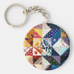Colourful Patchwork Quilt Basic Round Button Key Ring