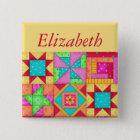 Colourful Patchwork Quilt Block Art Name Badge