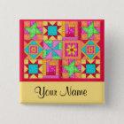 Colourful Patchwork Quilt Block Art Pins