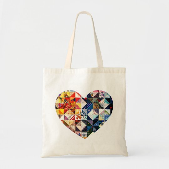 Colourful Patchwork Quilt Heart Tote Bag