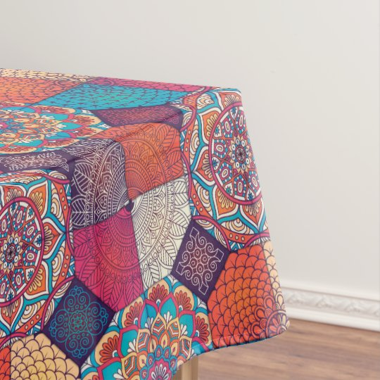 Colourful patchy mandala floral ornament pattern tablecloth