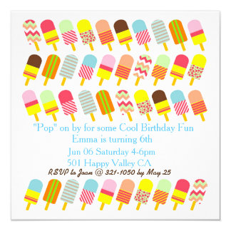Colourful Pattern Popsicle Cool Party Invitation