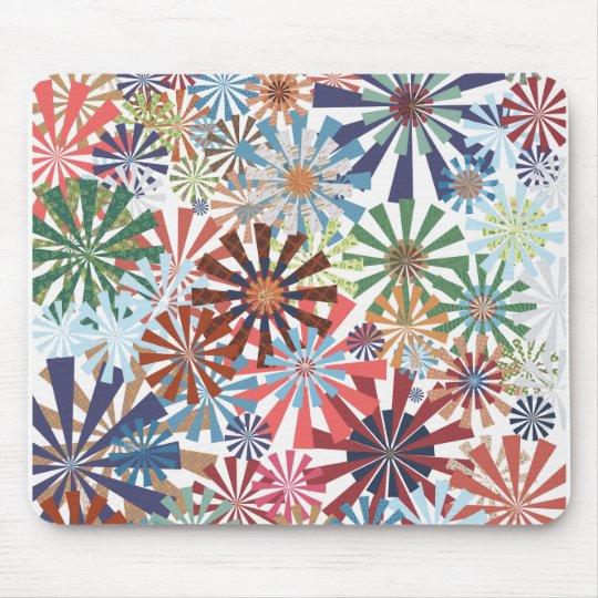 Colourful Pattern Radial Burst Pinwheel Design Mouse Pad