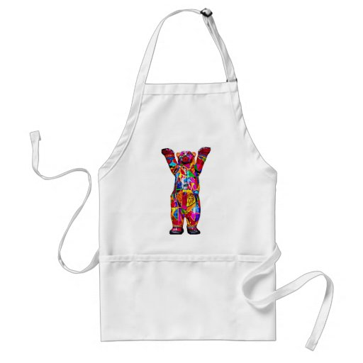 Colourful Patterned Teddy Bear, White Back (pst) Aprons