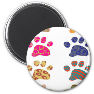 Colourful paw print magnet