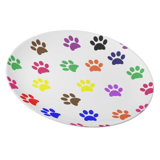 Colourful paw print pet dog food plate or dish