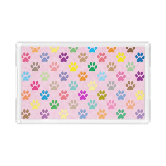 Colourful paw prints acrylic tray