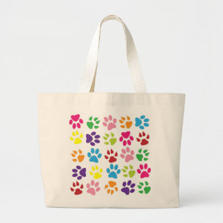 Colourful Paw Prints Large Tote Bag