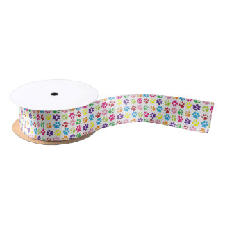 Colourful Paw Prints Satin Ribbon