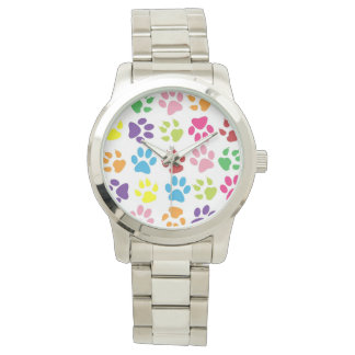 Colourful Paw Prints Watch