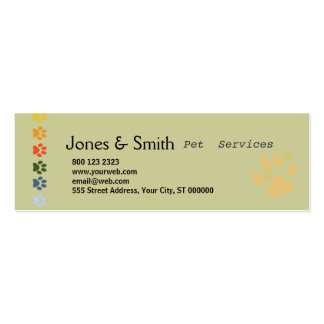 Colourful Paws Pack Of Skinny Business Cards