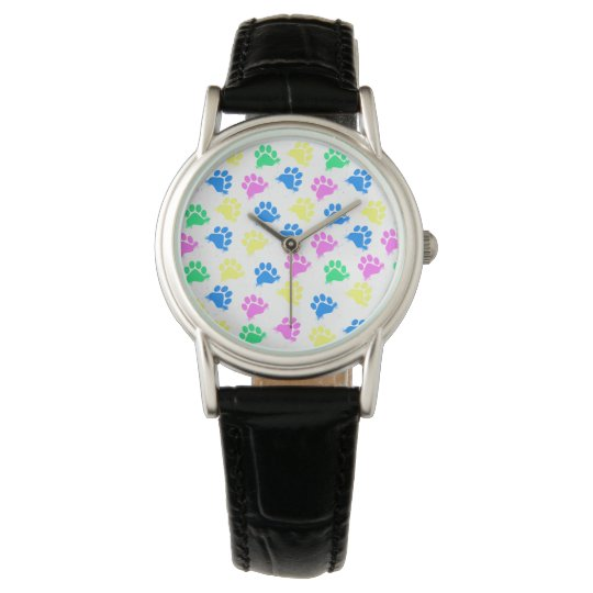 Colourful Paws Print- Wrist Watch Women
