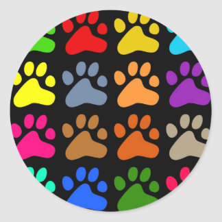 Colourful Paws Round Stickers