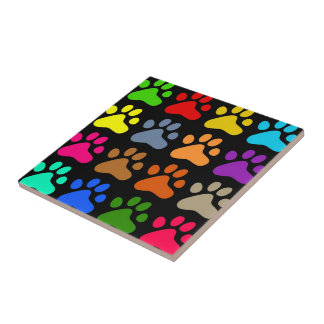 Colourful Paws Ceramic Tile