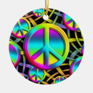 colourful PEACE Round Ceramic Decoration