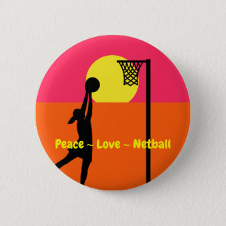Colourful Peace Love Netball 6 Cm Round Badge