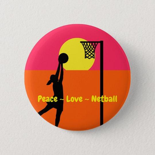 Colourful Peace Love Netball 6 Cm Round Badge