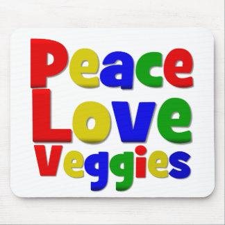 Colourful Peace Love Veggies Mouse Pad