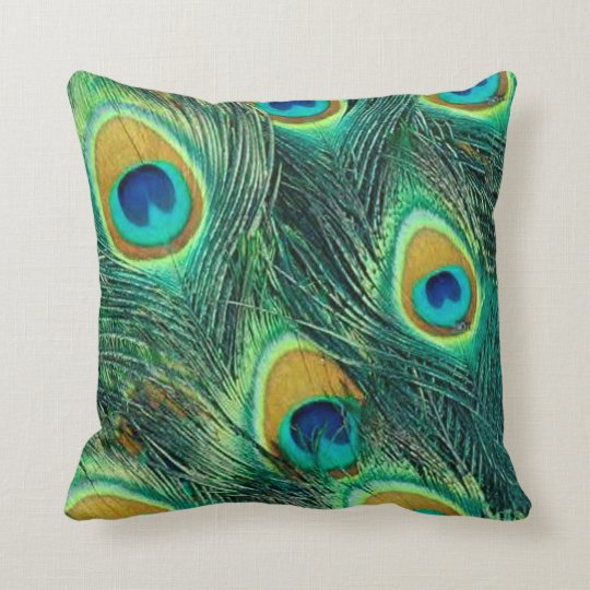 Colourful peacock feathers pattern Throw Pillow