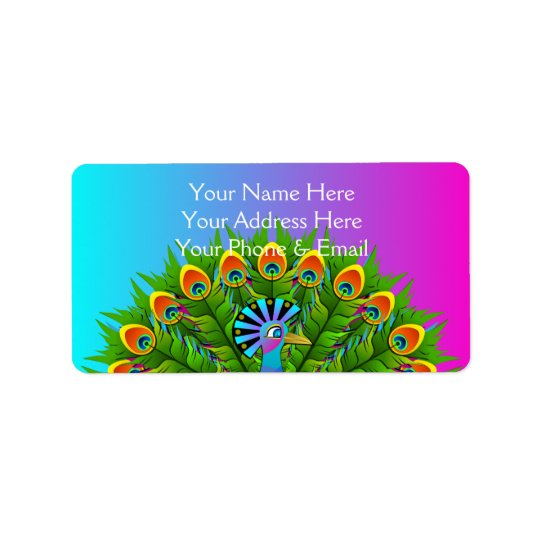 Colourful Peacock Rainbow Colours Bird Psychedelic Address Label