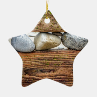 Colourful Pebbles Double-Sided Star Ceramic Christmas Ornament