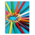 Colourful pencil crayons pattern notebook