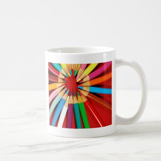 Colourful pencil crayons print coffee mug