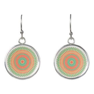 Colourful peppermint and apricot mandala fashion earrings