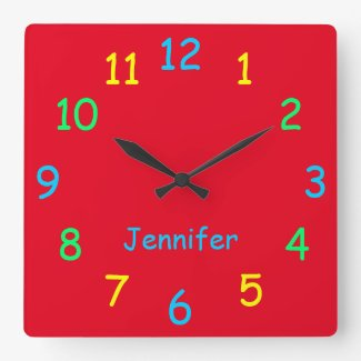 Colourful Personalised Clock Custom Cheery Red