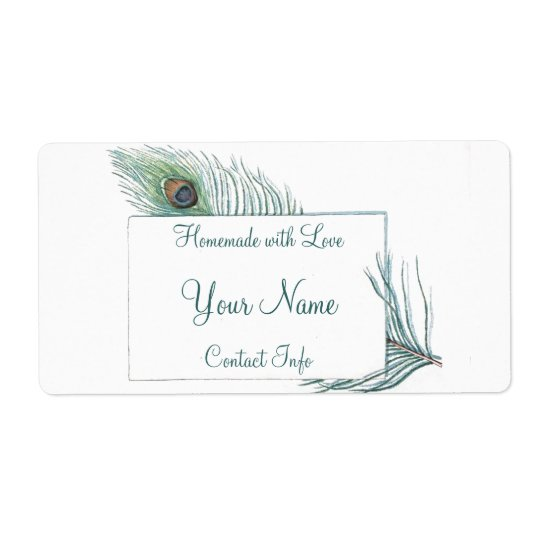 Colourful Personalised Vintage Peacock Feather