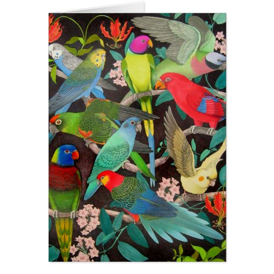 Colourful Pet Parrots of the World Card