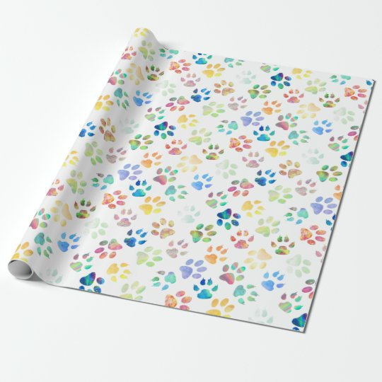colourful pet paw prints pattern wrapping paper