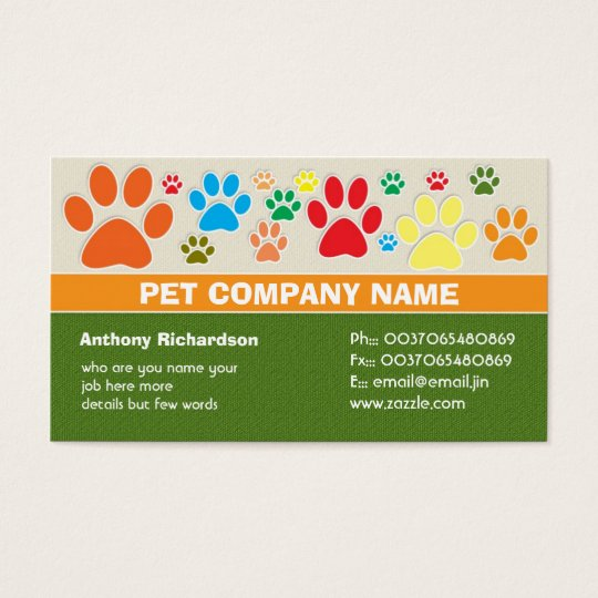 colourful pet pets care veterinary business cards
