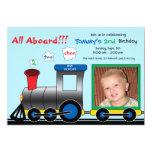 Colourful Photo Train Birthday Invitation 13 Cm X 18 Cm Invitation Card