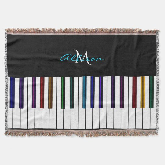 Colourful Piano Personalised Music Throw Blanket