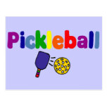 Colourful Pickleball Art Design Postcard