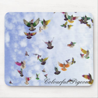 Colourful Pigeons Mouse Pad