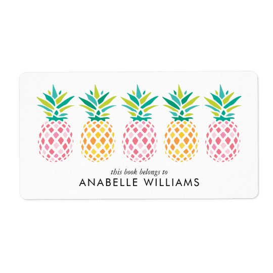 Colourful Pineapples Bookplate Labels
