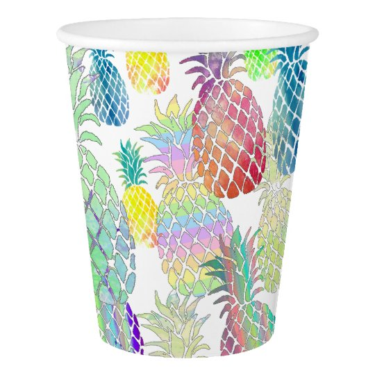 colourful pineapples pattern paper cup
