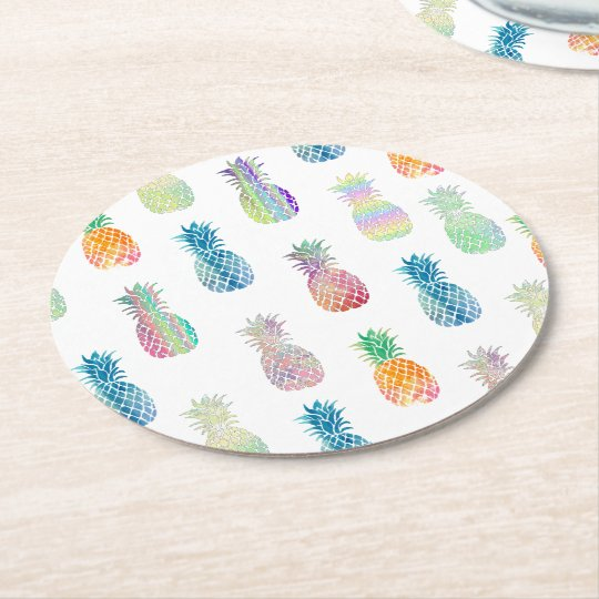 colourful pineapples round paper coaster