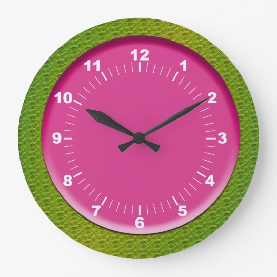 Colourful Pink and Green Wall Clock
